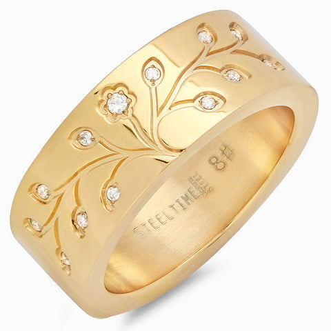Women's Stainless Steel Band Ring in 18 KT Gold Plated with Flora Design