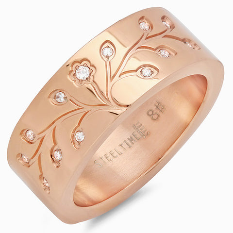 18k Rose Gold Plated Tree of Life Ring