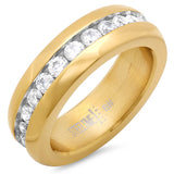 STAINLESS STEEL RING ETERNITY BAND IN 18KT GOLD