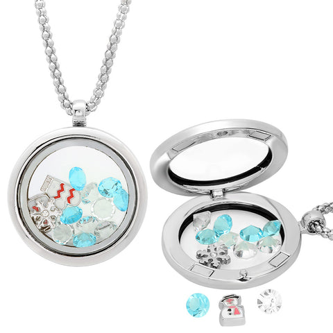 Metallic Magnetic Locket with Snow Charms