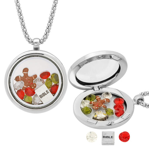 Metallic Magnetic Locket with Christmas Charms