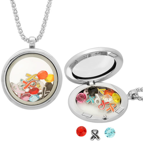 Metallic Locket with Breast Cancer Ribbon Charm