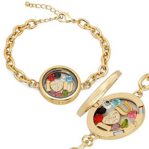 Ladies 18kt Gold Plated Alloy Bracelet with Multi Color Cz stones