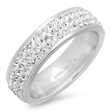 WOMEN'S STAINLESS STEEL RING WITH SIMULATED DIAMONDS