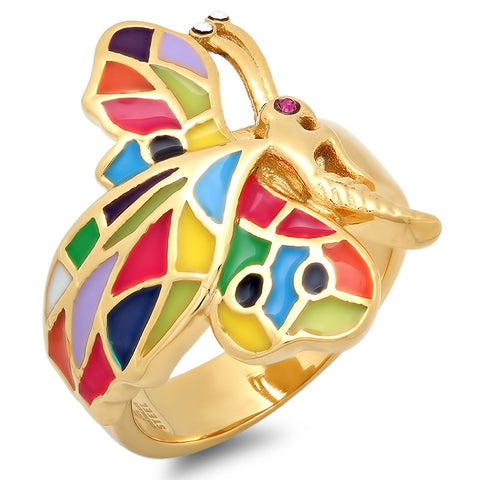 Ladies 18 KT Gold Plated Butterfly Ring with Colorful Wings