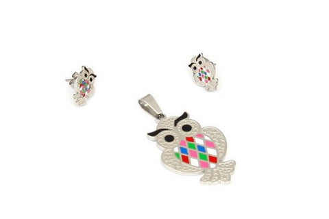 Women's Stainless Steel Earrings and Pendant set with Mutil-Color Owl Design