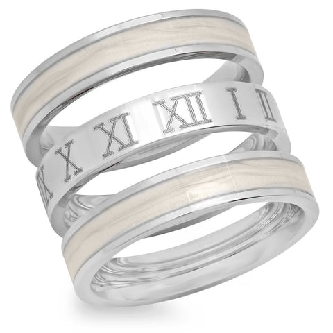Ladies Stainless Steel Set of 3 Roman Numeral Ring