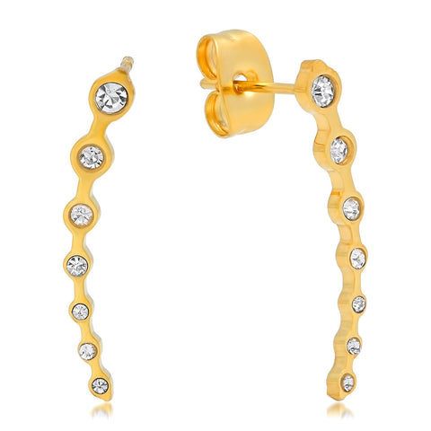 18k Gold Plated Simulated Diamond Ear Climber