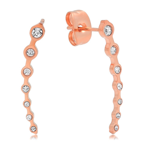 18k Rose Gold Plated Simulated Diamond Ear Climber