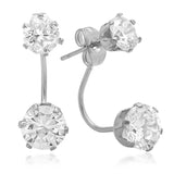 Ladies Stainless Steel CZ Drop Earrings