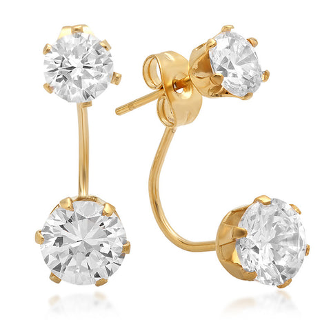 18k Gold Plated Stainless Steel Double Stone Earrings