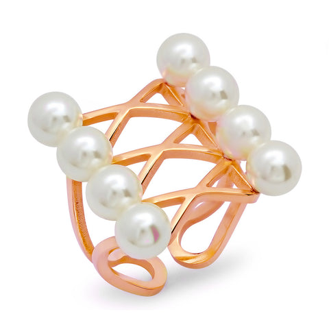 18kt Rose Gold Plated Stainless Steel Ring With Simulated Pearls