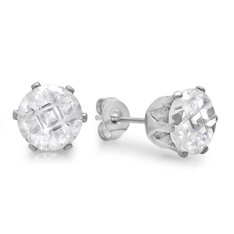 Steeltime Stainless Steel Stimulated Diamond Earrings