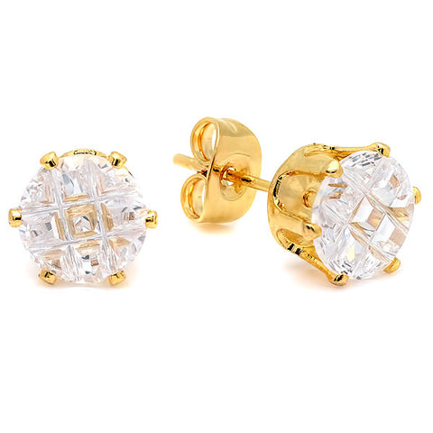 Women's Stud Earrings in 18 CT Gold Plated w/Simulated Diamonds