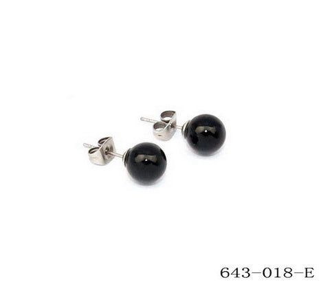 Stainless Steel Black Pearl Stud Earrings