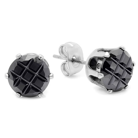 Steeltime Stainless Steel Black Stud Earrings