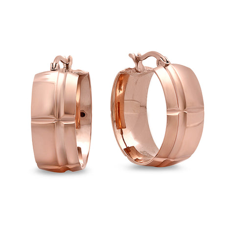 Stainless Steel Women's Rose Gold Huggie Earrings