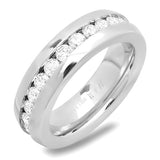 Steeltime Stainless Steel Ring With Simulated Diamond All Around