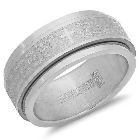 "Stainless Steel Prayer Spinning Ring ""Our Father"""