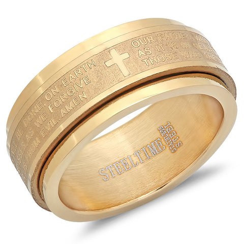 "18 KT Gold Prayer Spinning Ring ""Our Father"""