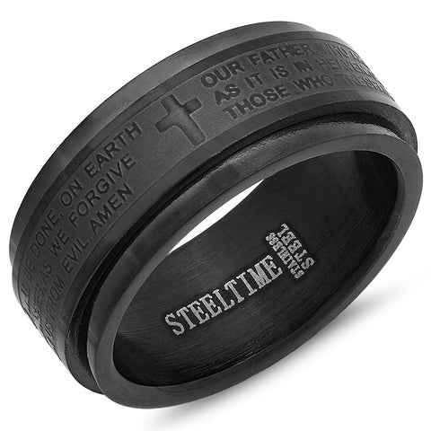 "Stainless Steel Prayer Spinner Ring in Black ""Our Father"""