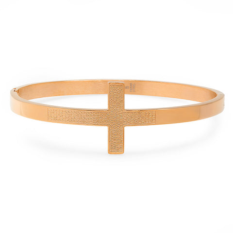 "Ladies 18 Kt Rose Gold Plated Cross Bangle in Spanish with ""Padre Nuestro"" Prayer Bracelet"