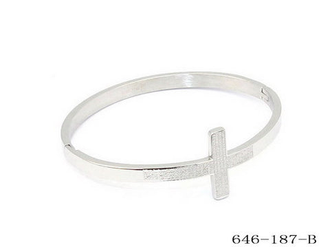 "Ladies Stainless Steel Cross Bangle Bracelet ""Pai Nosso"" Prayer"
