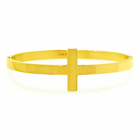 "Ladies 18 Kt Gold Plated Cross Bangle in Portuguese with ""Pai Nosso"" Prayer"