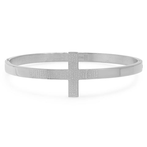 "Ladies Stainless Steel Cross Bangle Bracelet ""Our Father"" Prayer"