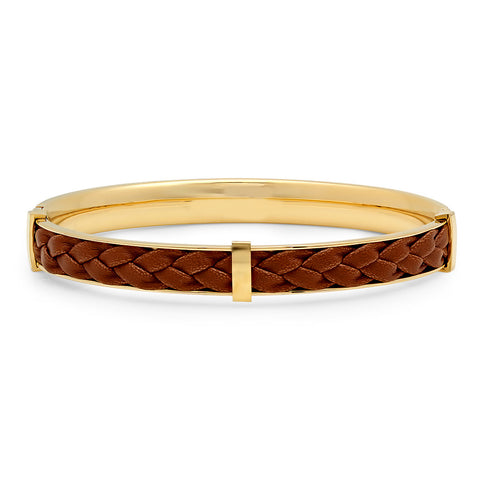 18kt gold plated stainless steel & brown leather bracelet