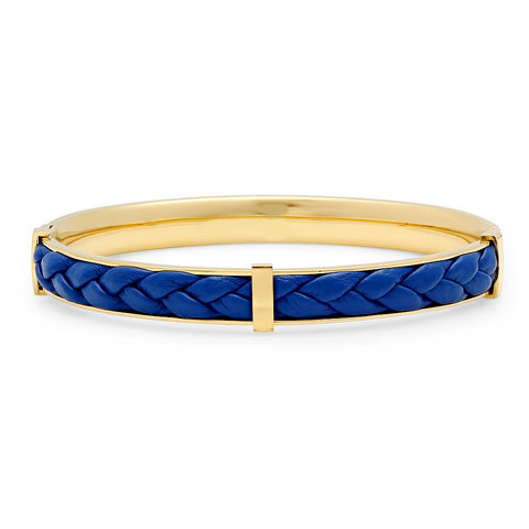 18k Gold Plated Stainless Steel & Blue Leather Bracelet