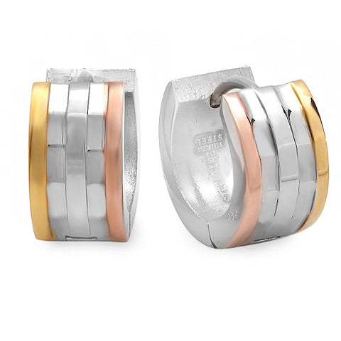 Ladies Tri-colored Stainless Steel Huggies Earrings