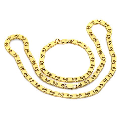 18K Gold Plated Bracelet and Necklace Set