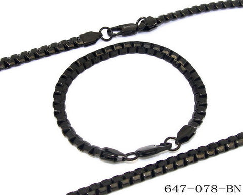 Stainless Steel Black IP Bracelet and Necklace Set