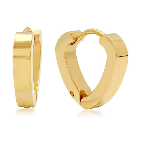 Ladies 18 KT Gold Plated Heart Huggie Earrings