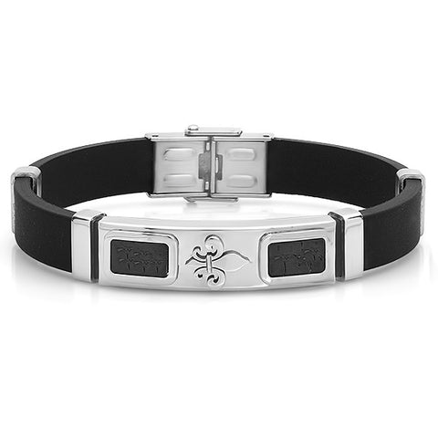 Men's Black Genuine Leather Bracelet With Stainless Steel Accents and Clasp