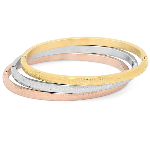 Ladies Tri-Color Textured Hinge Bangles