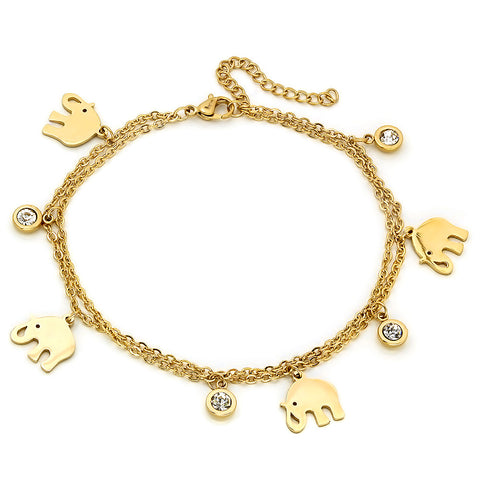 18kt Gold Plated Stainless Steel Anklet With Elephant and SW Stones Charms