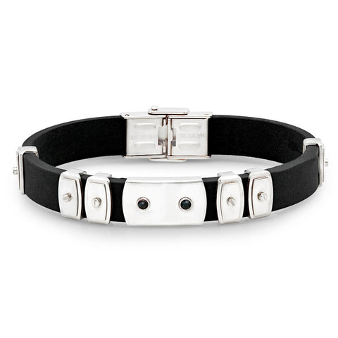 Silvertone Rubber Bracelet with Black Simulated Diamonds