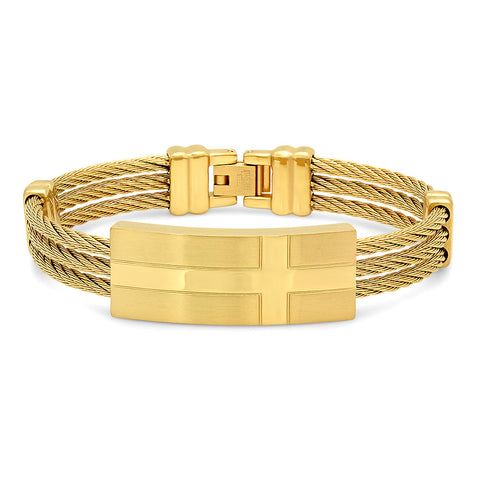 18k Gold Plated Three-Row Cable Wire Cross Bracelet
