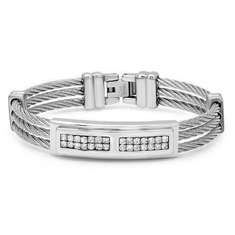 Stainless Steel Simulated Diamond Three-Row Cable Wire Bracelet
