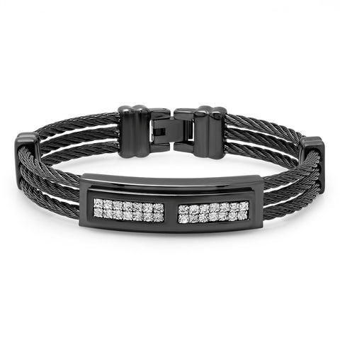 Simulated Diamond Three-Row Black IP Cable Wire Bracelet