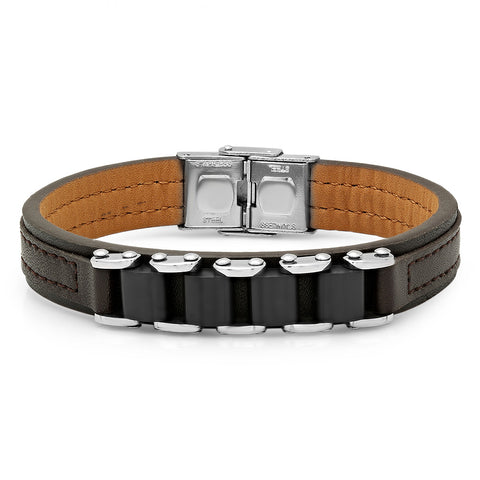 Genuine Brown Leather Bracelet with Bike Chain Accent