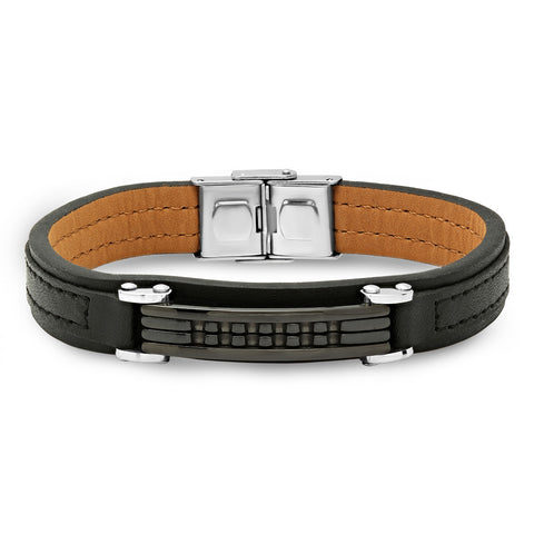 Genuine Black Leather Bracelet with Black Plate