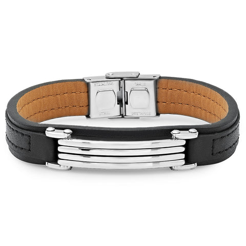 Silvertone Genuine Black Leather Bracelet