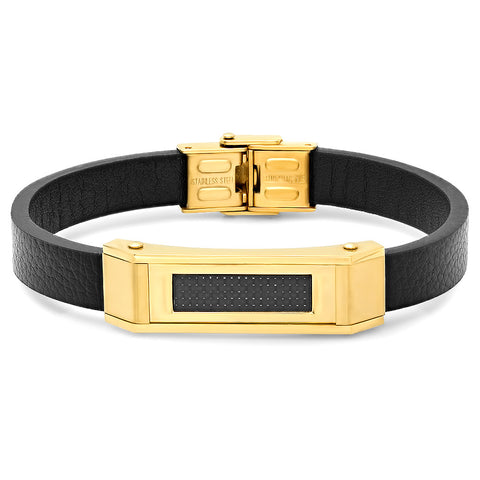 Genuine Carbon Fiber Black Leather Bracelet