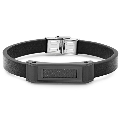 Black IP Genuine Carbon Fiber Leather Bracelet