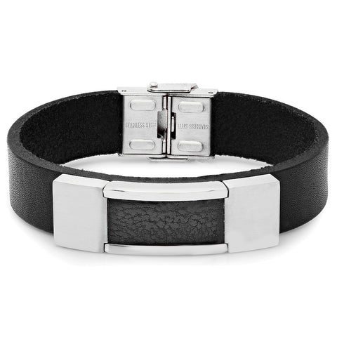 Genuine Black Leather Bracelet with Stainless Steel Framed Faux Leather