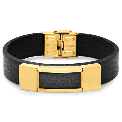 Genuine Black Leather Bracelet with 18k Gold Plated Framed Faux Leather