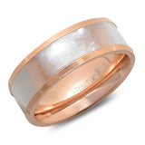 Ladies 18k rose gold plated stainless steel mother of pearl band ring